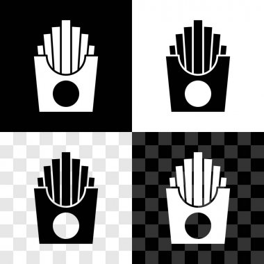 Set Potatoes french fries in carton package box icon isolated on black and white, transparent background. Fast food menu.  Vector. icon