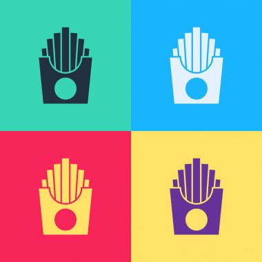 Pop art Potatoes french fries in carton package box icon isolated on color background. Fast food menu.  Vector. icon