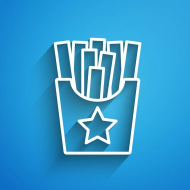White line Potatoes french fries in carton package box icon isolated on blue background. Fast food menu. Long shadow. Vector. icon