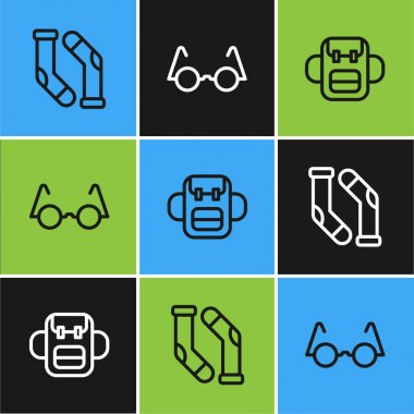 Set line Socks, School backpack and Eyeglasses icon. Vector. icon