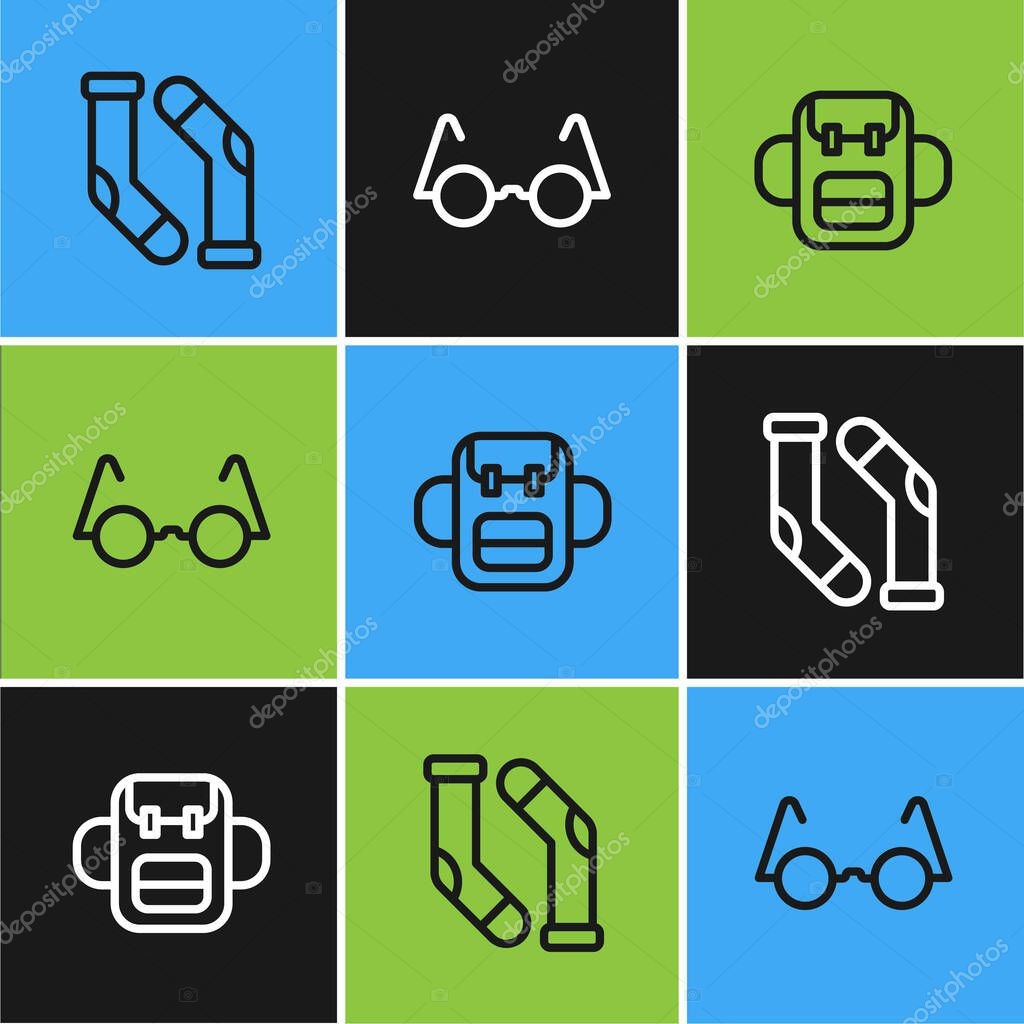 Set line Socks  School backpack and Eyeglasses icon icon