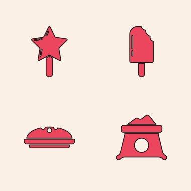 Set Bag of flour, Lollipop, Ice cream and Homemade pie icon. Vector. icon