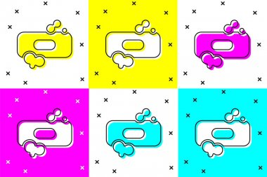 Set Bar of soap icon isolated on color background. Soap bar with bubbles.  Vector Illustration. icon