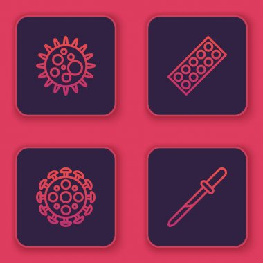 Set line Virus, , Pills in blister pack and Pipette. Blue square button. Vector. icon