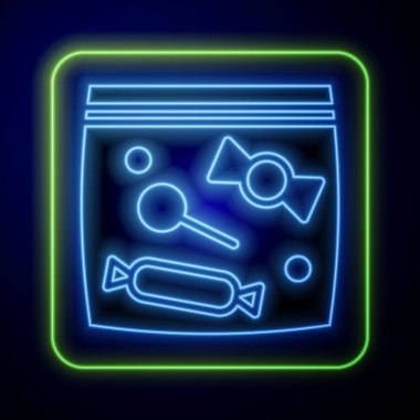 Glowing neon Candy packaging for sweets icon isolated on blue background. Bag with candy.  Vector. icon