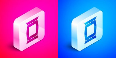 Isometric Bag or packet potato chips icon isolated on pink and blue background. Silver square button. Vector. icon