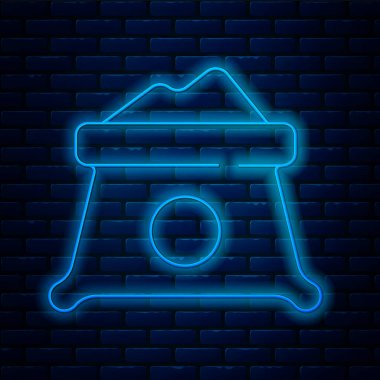 Glowing neon line Bag of flour icon isolated on brick wall background.  Vector. icon