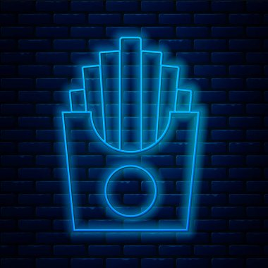 Glowing neon line Potatoes french fries in carton package box icon isolated on brick wall background. Fast food menu.  Vector. icon