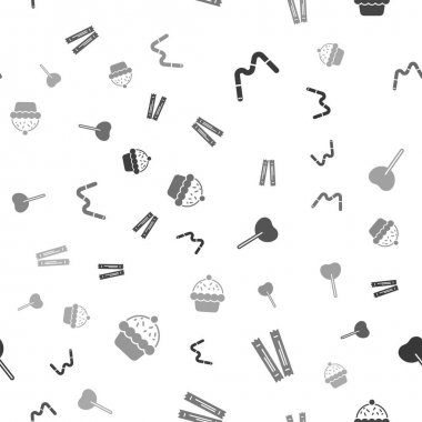 Set Jelly worms candy, Sugar stick packets, Lollipop and Cupcake on seamless pattern. Vector. icon