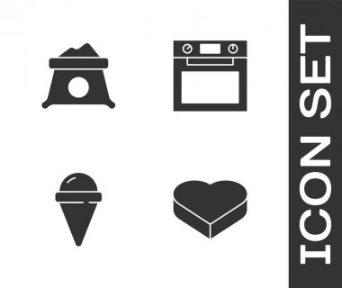 Set Candy in heart shaped box, Bag of flour, Ice cream waffle cone and Oven icon. Vector. icon