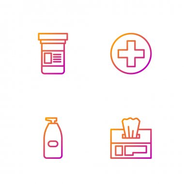 Set line Wet wipe pack, Bottle of liquid antibacterial soap, Medicine bottle and Cross hospital medical. Gradient color icons. Vector. icon