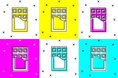 Set Chocolate bar icon isolated on color background.  Vector. icon