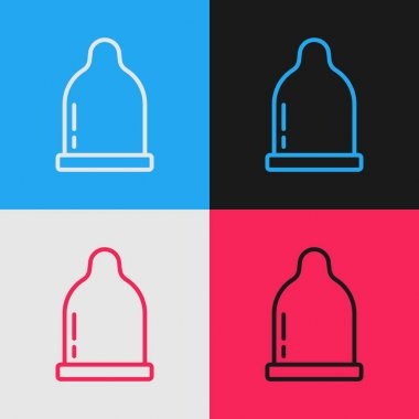 Pop art line Condom icon isolated on color background. Safe love symbol. Contraceptive method for male.  Vector. icon