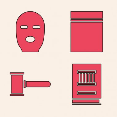 Set Law book, Thief mask, Plastic bag with ziplock and Judge gavel icon. Vector. icon