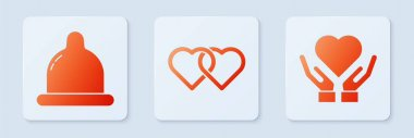 Set Two Linked Hearts, Condom and Heart on hand. White square button. Vector. icon