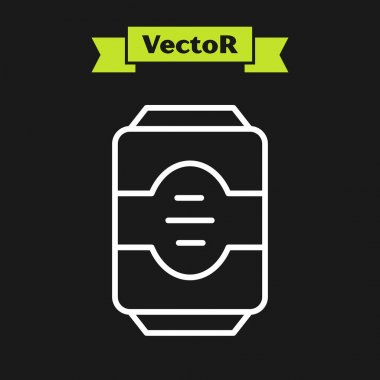 White line Energy drink icon isolated on black background.  Vector. icon