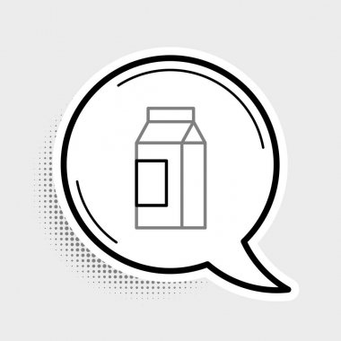 Line Paper package for milk icon isolated on grey background. Milk packet sign. Colorful outline concept. Vector. icon
