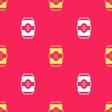 Yellow Energy drink icon isolated seamless pattern on red background.  Vector. icon