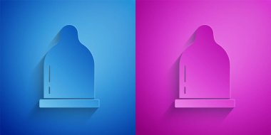 Paper cut Condom icon isolated on blue and purple background. Safe love symbol. Contraceptive method for male. Paper art style. Vector. icon