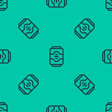 Blue line Energy drink icon isolated seamless pattern on green background.  Vector. icon