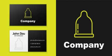Logotype line Condom icon isolated on black background. Safe love symbol. Contraceptive method for male. Logo design template element. Vector. icon
