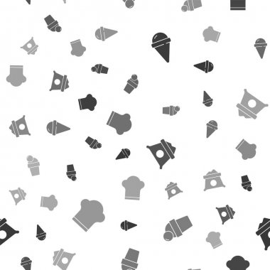 Set Ice cream in waffle cone, , Bag of flour and Chef hat on seamless pattern. Vector. icon