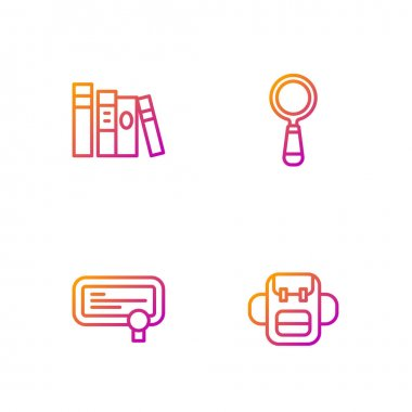 Set line School backpack, Certificate template, Book and Magnifying glass. Gradient color icons. Vector. icon