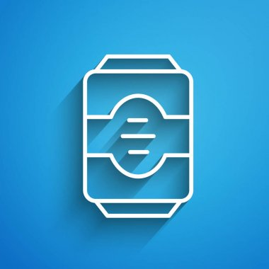 White line Energy drink icon isolated on blue background. Long shadow. Vector. icon