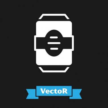 White Energy drink icon isolated on black background.  Vector. icon