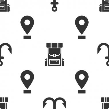 Set Anchor, Hiking backpack and Location on seamless pattern. Vector. icon