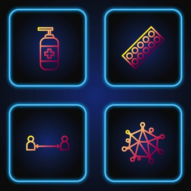 Set line Virus, Safe distance, Bottle of liquid antibacterial soap and Pills in blister pack. Gradient color icons. Vector. icon