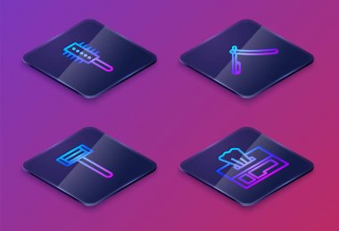 Set Isometric line Hairbrush, Shaving razor, Straight and Wet wipe pack. Blue square button. Vector. icon