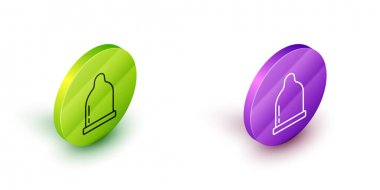 Isometric line Condom icon isolated on white background. Safe love symbol. Contraceptive method for male. Green and purple circle buttons. Vector. icon