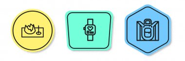 Set line Bicycle on street ramp, Smart watch and Hiking backpack. Colored shapes. Vector. icon