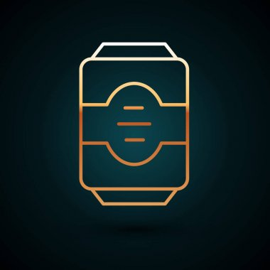 Gold line Energy drink icon isolated on dark blue background.  Vector. icon
