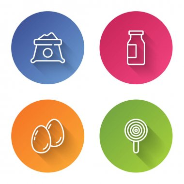 Set line Bag of flour, Bottle with milk, Easter eggs and Lollipop. Color circle button. Vector. icon
