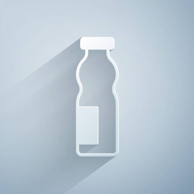 Paper cut Drinking yogurt in bottle icon isolated on grey background. Paper art style. Vector. icon