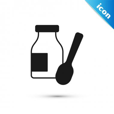 Grey Drinking yogurt in bottle with spoon icon isolated on white background.  Vector. icon