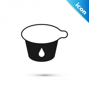Grey Yogurt container icon isolated on white background. Yogurt in plastic cup.  Vector. icon