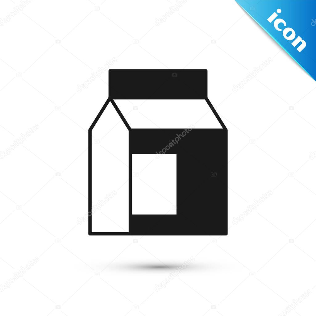 Grey Paper package for milk icon isolated on white background icon