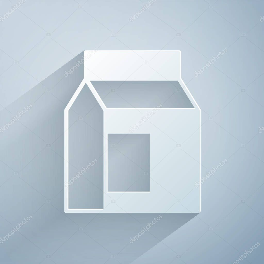 Paper cut Paper package for milk icon isolated on grey background icon