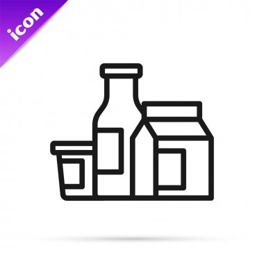 Black line Milk product icon isolated on white background.  Vector. icon