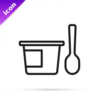 Black line Yogurt container with spoon icon isolated on white background. Yogurt in plastic cup.  Vector. icon