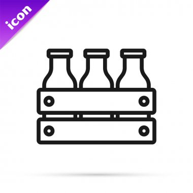 Black line Bottled milk packed in wooden box icon isolated on white background.  Vector. icon