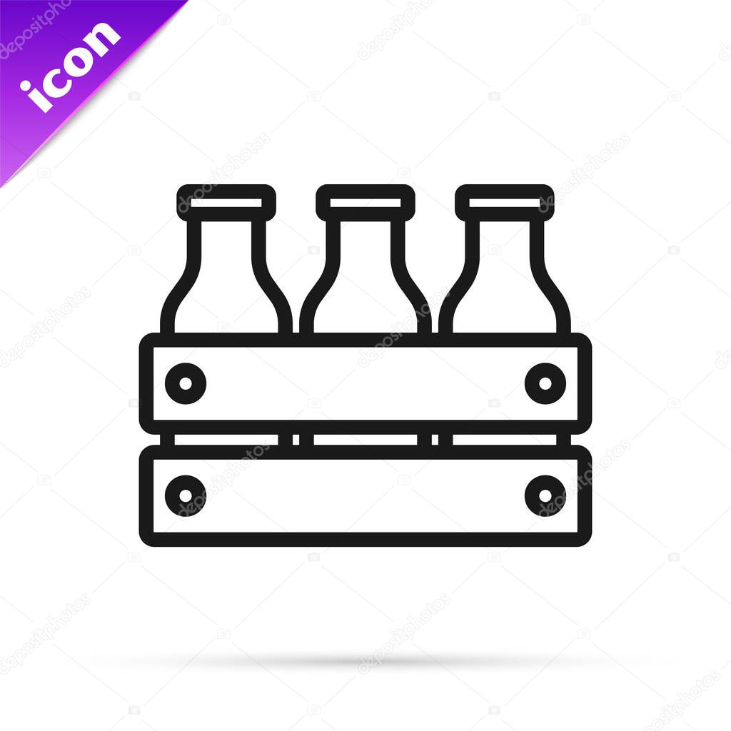 Black line Bottled milk packed in wooden box icon isolated on white background icon