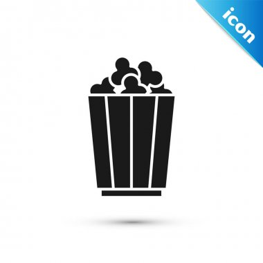 Grey Popcorn in cardboard box icon isolated on white background. Popcorn bucket box.  Vector. icon