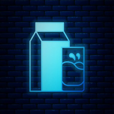 Glowing neon Paper package for kefir and glass icon isolated on brick wall background. Dieting food for healthy lifestyle and probiotics fulfillment.  Vector. icon