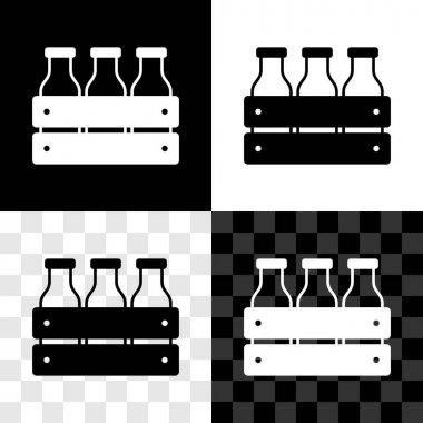 Set Bottled milk packed in wooden box icon isolated on black and white, transparent background.  Vector. icon