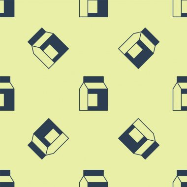 Blue Paper package for milk icon isolated seamless pattern on yellow background. Milk packet sign.  Vector. icon