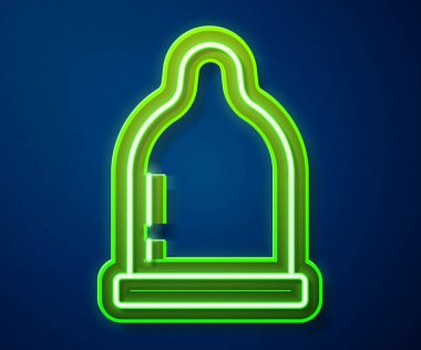 Glowing neon line Condom icon isolated on blue background. Safe love symbol. Contraceptive method for male.  Vector. icon